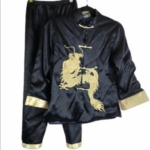 Kids traditional asian style pajamas gold dragon